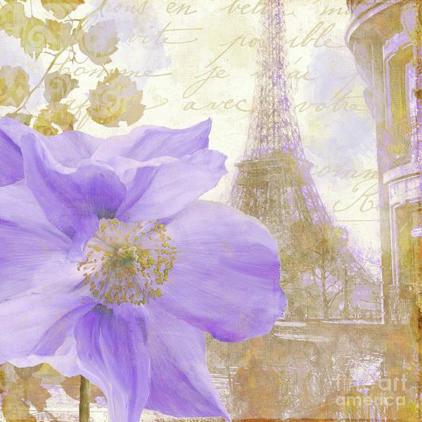 Retro Paris Painting - Purple Paris by Mindy Sommers