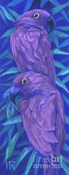 Painting - Purple Parrots by Julia Khoroshikh