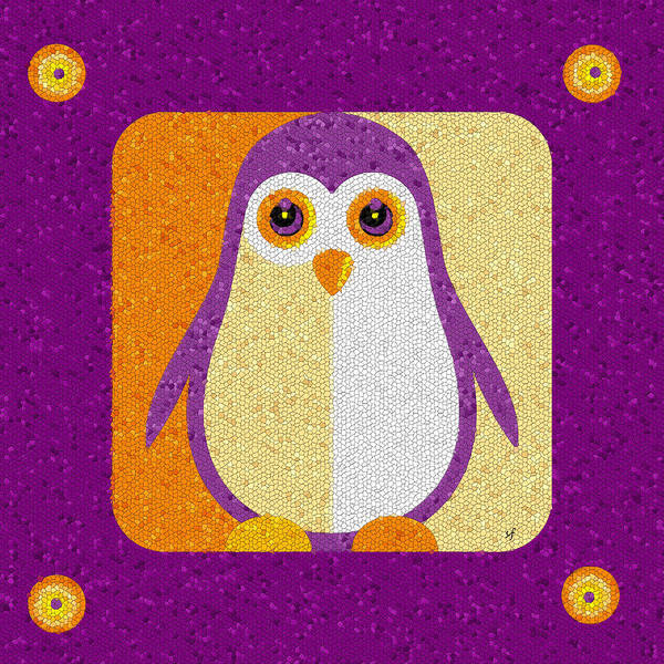 Digital Art - Purple Penguin In A Box Mosaic  by Shelli Fitzpatrick