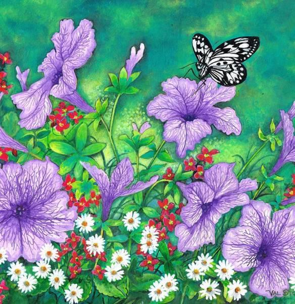 Painting - Purple Petunias by Val Stokes