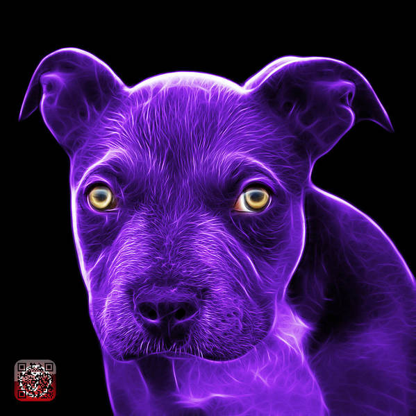Painting - Purple Pitbull Puppy Pop Art - 7085 Bb by James Ahn