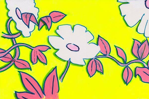 Painting - Purple Pointed Petals And Bright White Flowers Against Yellow by Mike Jory