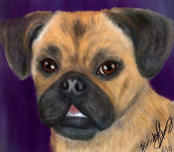 Painting - Purple Pug Portrait by Becky Herrera