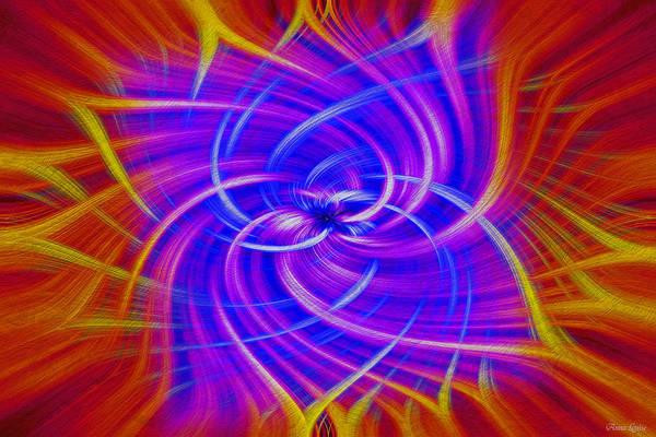 Digital Art - Purple Radiant Orange Swirl by Anna Louise