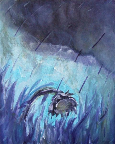 Drawing - Purple Rain Sunflower by Katt Yanda