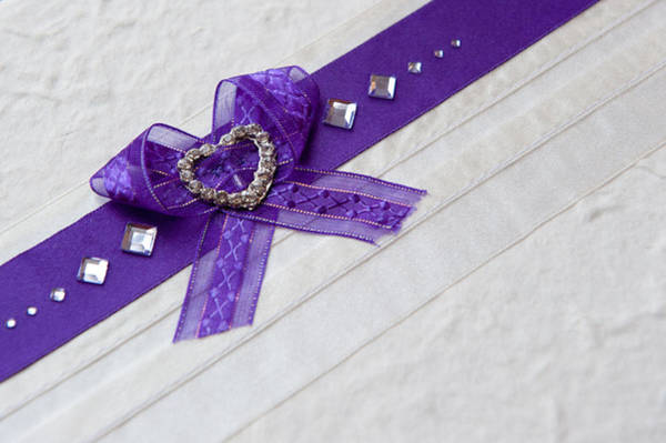Purple Ribbon Heart Art Print