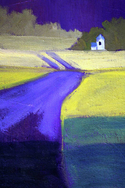 Wall Art - Painting - Purple Road Abstract Landscape Painting by Nancy Merkle