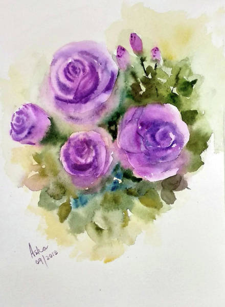 Painting - Purple Roses by Asha Sudhaker Shenoy