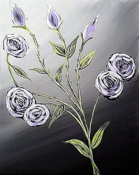 Wall Art - Painting - Purple Roses On Black And White Background by Willy Proctor