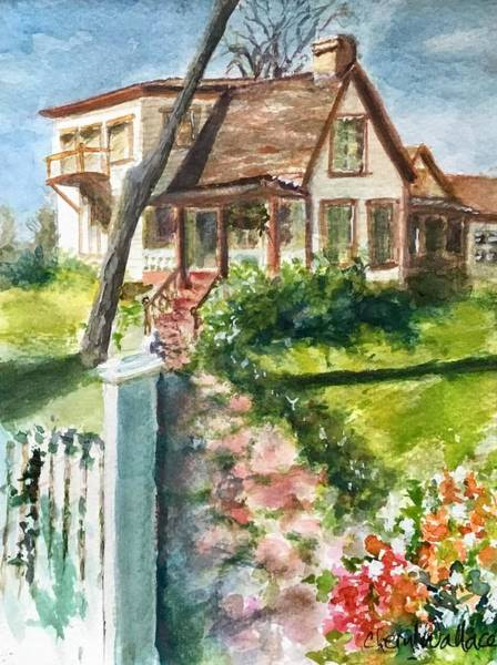 Porch Painting - Purple Sage Inn by Cheryl Wallace