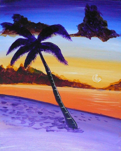 Painting - Purple Sand Palm Tree by Richard Fritz