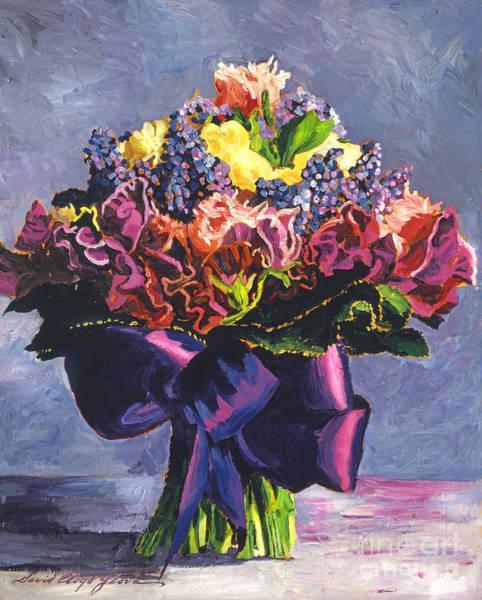 Floral Arrangement Painting - Purple Sash Bouquet by David Lloyd Glover