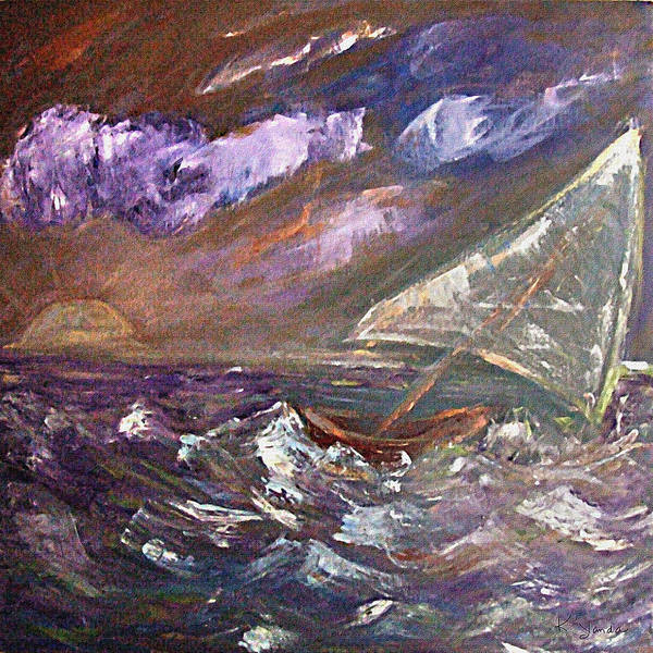 Painting - Purple Sea Storm by Katt Yanda