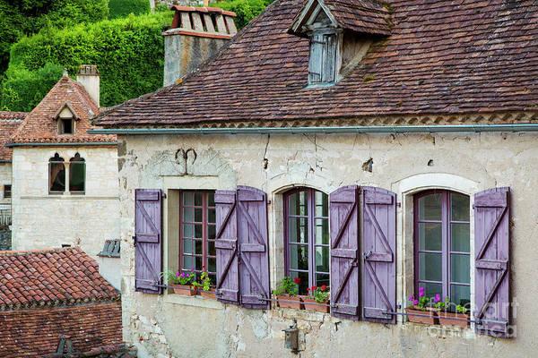 Wall Art - Photograph - Purple Shutters - Saint Cirq by Brian Jannsen