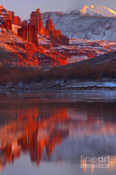 Fisher Towers Photograph - Purple Skies And Red Towers by Adam Jewell