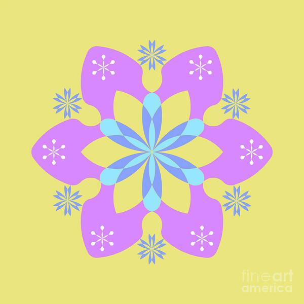 Cyan Digital Art - Purple Star On Yellow Square by Drawspots Illustrations