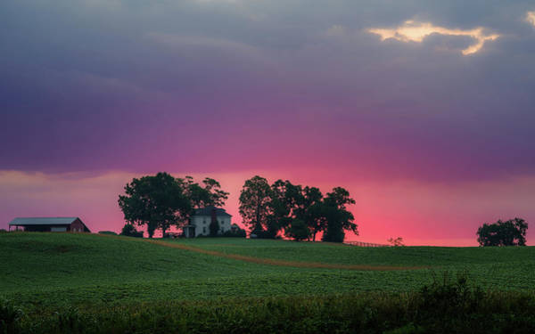 Photograph - Purple Sunrise Over Farm by Lori Coleman