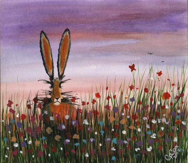 Chris Cox Painting - Purple Sunset Hare by Chris Cox