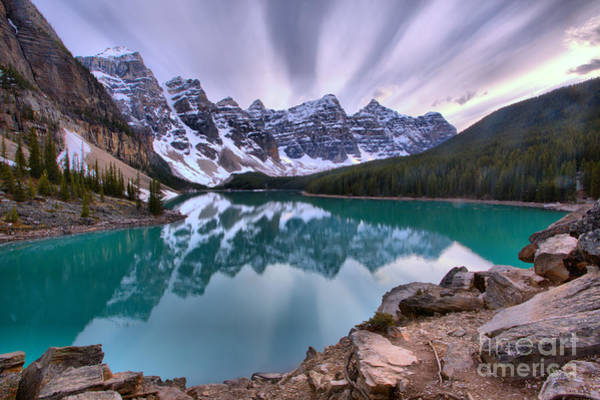 Photograph - Purple Sunset Skies Over Moraine Lake by Adam Jewell