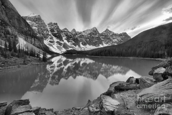 Photograph - Purple Sunset Skies Over Moraine Lake Black And White by Adam Jewell