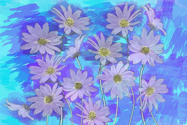 Photograph - Purple Teal Daisy Watercolor by Patti Deters