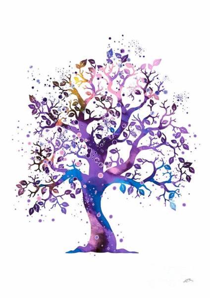 Wedding Gift Digital Art - Purple Tree Watercolor by Svetla Tancheva