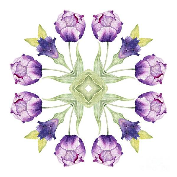 Wall Art - Digital Art - Purple Tulip Mandala by Mary Machare