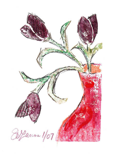 Monotype Mixed Media - Purple Tulips II by Suzanne Blender