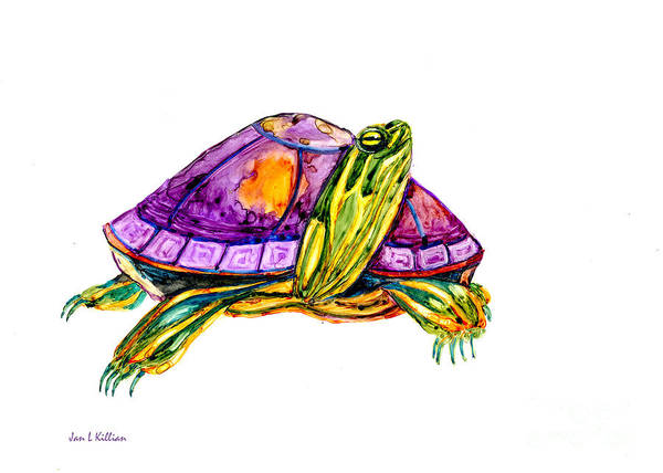 Painting - Purple Turtle by Jan Killian