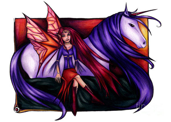 Drawing - Purple Unicorn With Fairy Friend by Kristin Aquariann