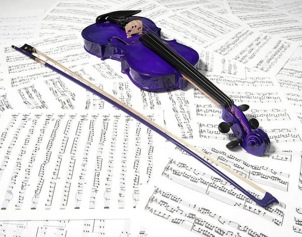 Photograph - Purple Violin And Music Xiii by Helen Northcott