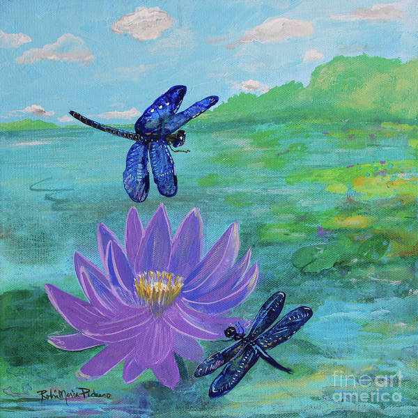 Painting - Purple Water Lily And Dragonflies by Robin Maria Pedrero