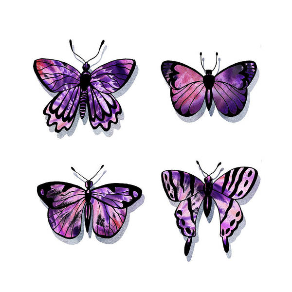 Painting - Purple Watercolor Butterflies Collection IIi by Irina Sztukowski