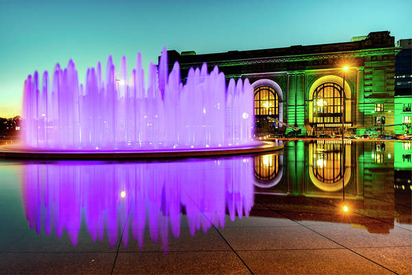 Photograph - Purple Waters And Union Station - Kansas City by Gregory Ballos