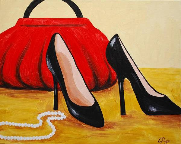 Painting - Purse, Pumps, And Pearls by Emily Page