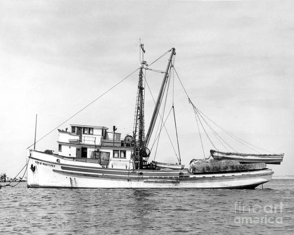 Photograph - Purse Seiner City Of Montey At Anchor In Monterey Harbor Circa 1938 by California Views Archives Mr Pat Hathaway Archives