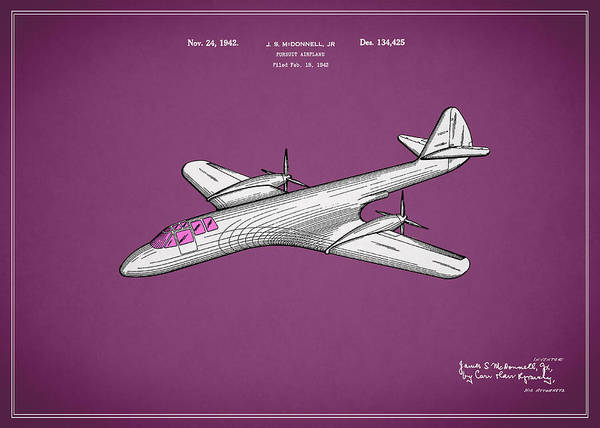Wall Art - Photograph - Pursuit Airplane Patent 1942 by Mark Rogan