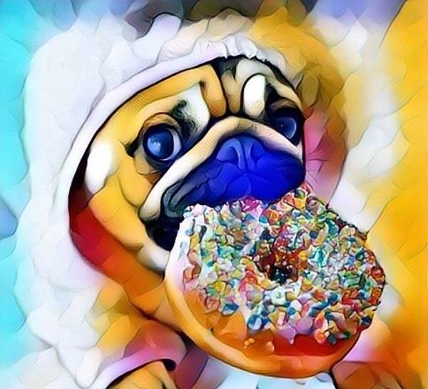 Streetart Mixed Media - Pugs And Donuts  by Caesaray Starbuck