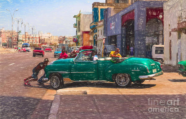 Photograph - Pushing A Car - V3 by Les Palenik