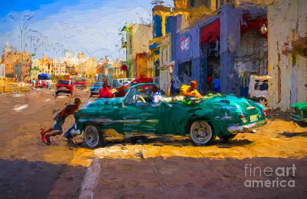 Photograph - Pushing A Car - V2 by Les Palenik