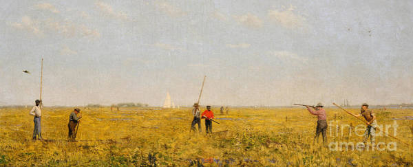 Rail Painting - Pushing For Rail, 1874 by Thomas Cowperthwait Eakins