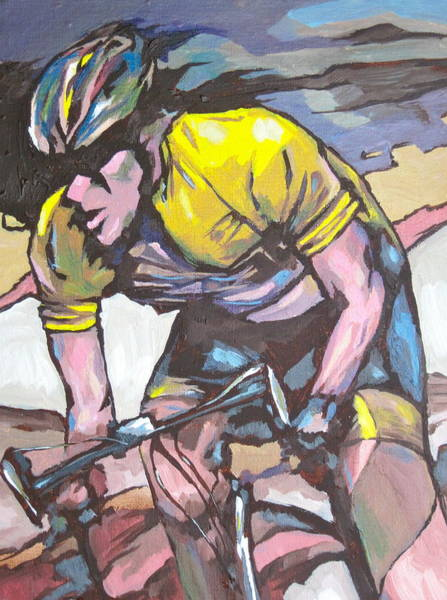 Cycling Helmet Painting - Pushing It To The Limit by Sandy Tracey