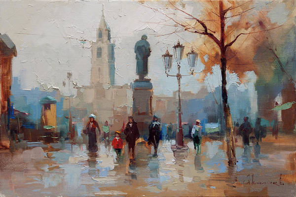 Boulevard Painting - Pushkin, The Popular Trail. From The Series Old Moscow. by Alexey Shalaev
