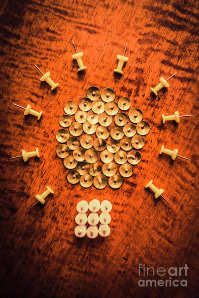 Brass Photograph - Pushpins Arranged In Light Bulb Icon by Jorgo Photography - Wall Art Gallery