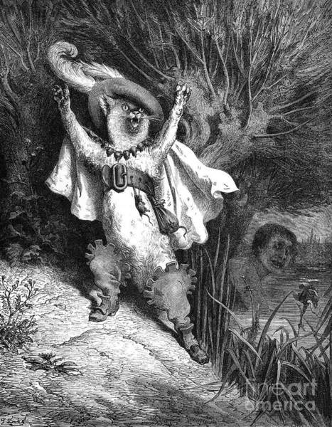 Drawing - Puss In Boots by Gustave Dore