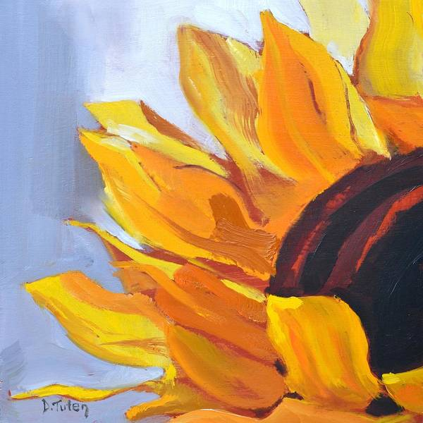 Painting - Put On A Happy Face Sunflower Oil Painting by Donna Tuten