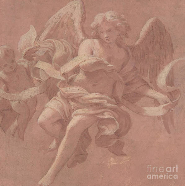 Putto Painting - Putto And Angel Holding A Banderole, 1706  by Antonio Franchi