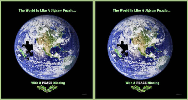 Olive Branch Digital Art - Puzzling - X-view Stereo by Brian Wallace