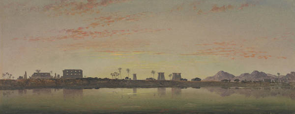 Pylon Painting - Pylons At Karnak, The Theban Mountains In The Distance by Edward William Cooke