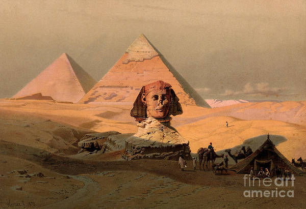 Photograph - Pyramids At Giza And The Sphinx, 1870 by Wellcome Images